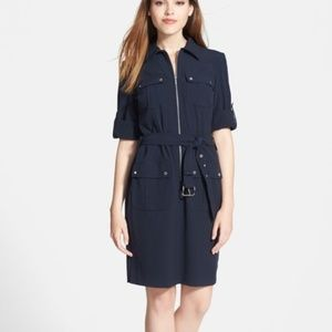 MICHAEL Michael Kors Roll Sleeve Belted Shirtdress
